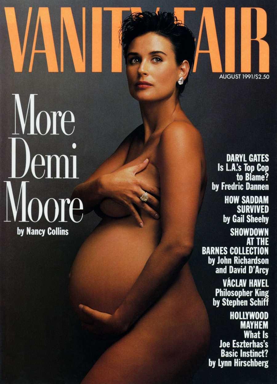 Demi Moore portada de Vanity Fair. Posó para Annie Leibovitz desnuda en la recta final de su embarazo. Una imagen que ha marcado la historia de los editoriales de moda