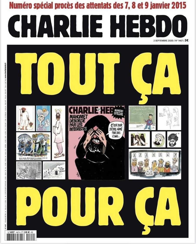 Vista de la portada de Charlie Hebdo publicada este miércoles en la que recuperan las famosas caricaturas de Mahoma por las que se convirtieron en blanco de yihadistas.