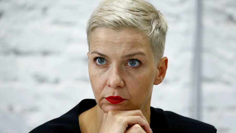 La política y representante del Consejo de Coordinación de los miembros de la oposición bielorrusa, Maria Kolesnikova, durante una conferencia de prensa en Minsk, Bielorrusia.