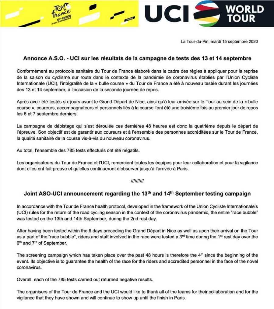 Comunicado de la UCi en el que se confirma que no hay positivos por Covid-19 en el Tour de Francia tras la segunda jornada de descanso.