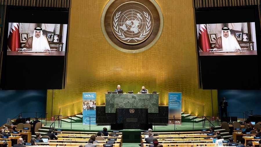 El emir de Qatar hablando durante la 75ª Asamblea General de la ONU