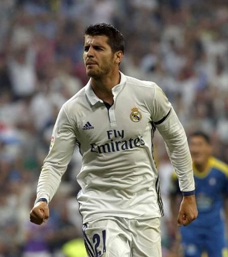 Álvaro Morata duante su etapa en el Real Madrid (2016)