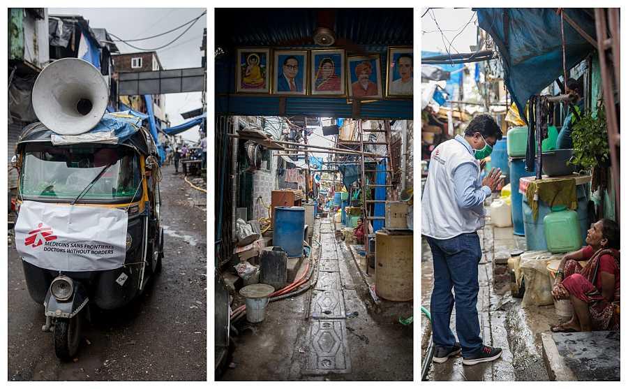 Acceso a los suburbios de Govandi este en la zona oriental de Bombay. Santosh Choure, responsable de Promoción de la Salud de MSF conversa con los residentes de los suburbios durante las actividades de higiene y saneamiento realizadas por MSF.