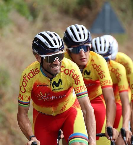 Alejandro Valverde, durante un entrenamiento en Imola