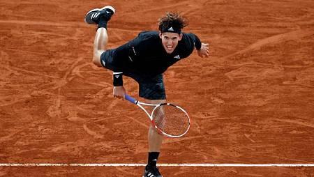 El tenista austriaco Dominic Thiem durante su partido ante Marin Cilic en Roland Garros 2020.