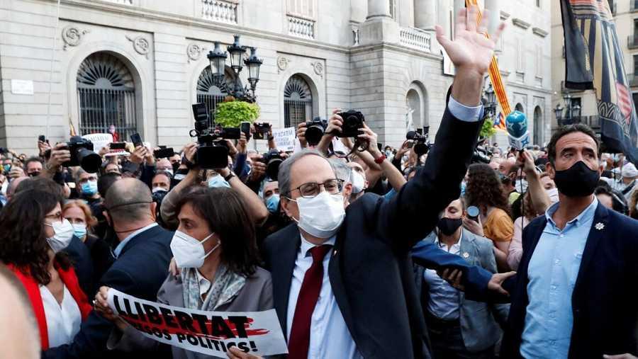 Quim Torra a su salida del Palau de la Generalitat