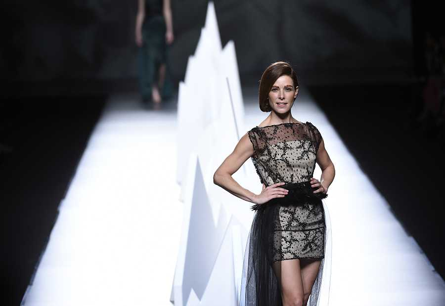 Presenter Raquel Sanchez Silva wears at collection runway a creation from Ion Fiz during Pasarela Cibeles - Mercedes-Benz Fashion Week Madrid 2015, in Madrid, on Sunday 8th February 2015