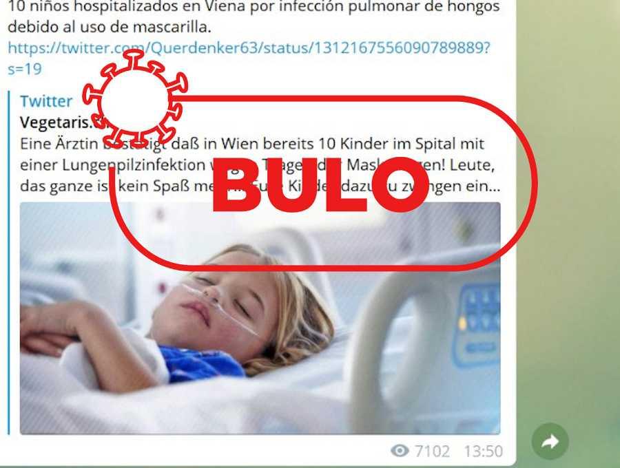 Captura de otro bulo en el que aparece un niño hospitalizado con una enfermedad respiratoria utilizada para hablar del perjuicio de las mascarillas en niños.