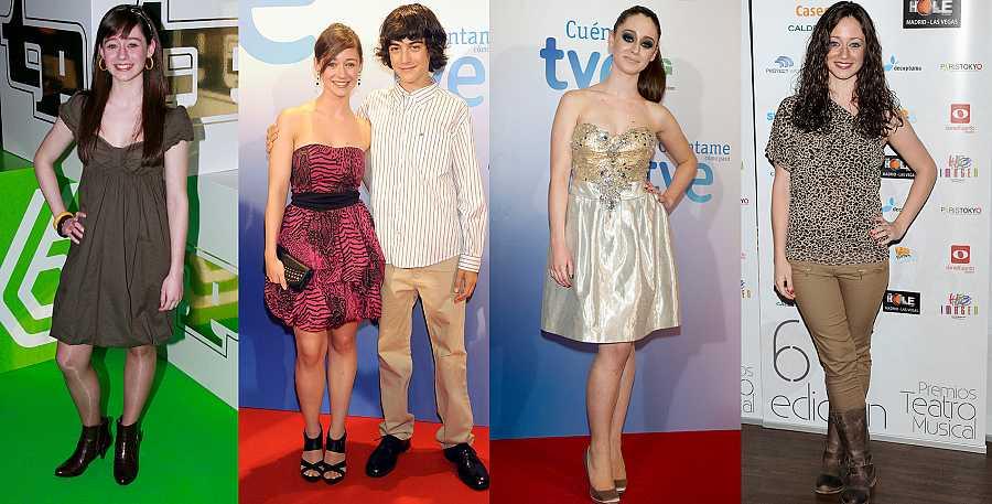 Elena Rivera en 2008, 2009, 2010 y 2012, durante su carrera en la serie 'Cuéntame cómo pasó'