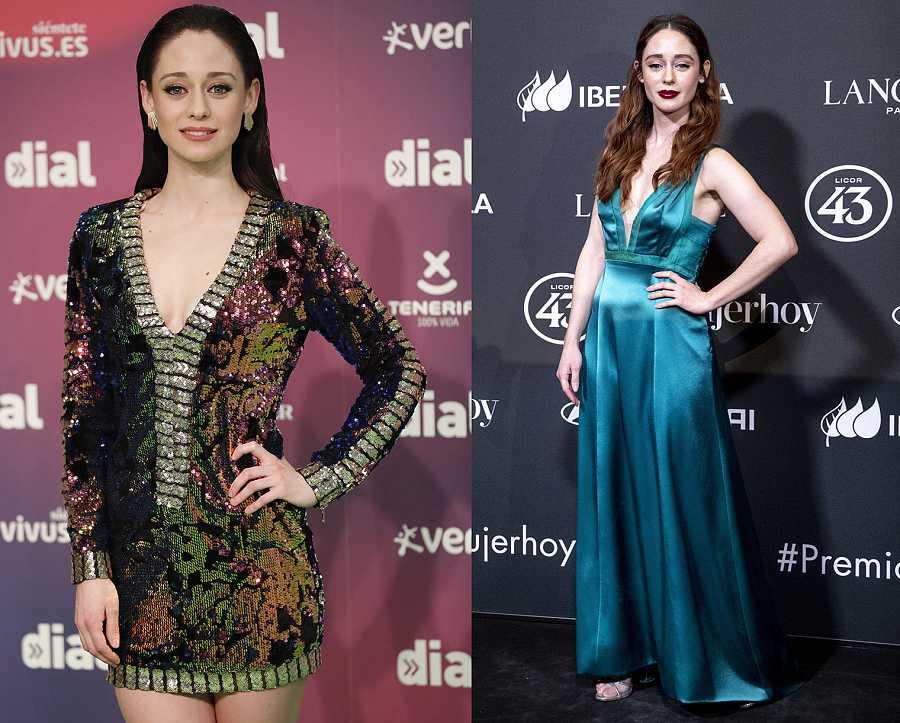 Elena Rivera vestida de fiesta en 2018 y en 2020, con el pelirrojo característico de 'Inés del alma mía'