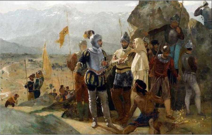 Años después, al descubrir el Estudio Preliminar de la misma pintura, descubrieron que bajo los hábitos de un religioso quedaba representada Inés Suárez