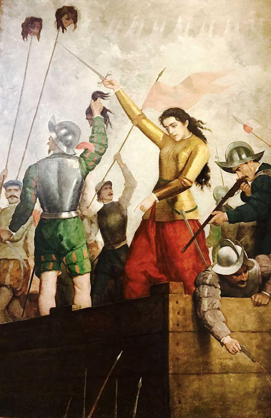 Inés Suárez en la defensa de Santiago