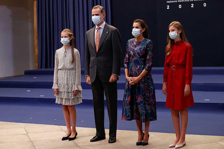 La familia real durante la Audiencia previa a los Premios Princesa de Asturias 2020