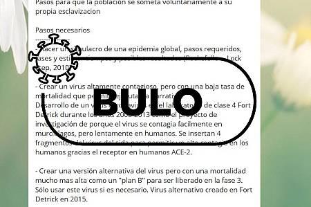 Captura de un bulo compartido por mensajería instantánea en el que se acusa a EE.UU. de fabricar el coronavirus.