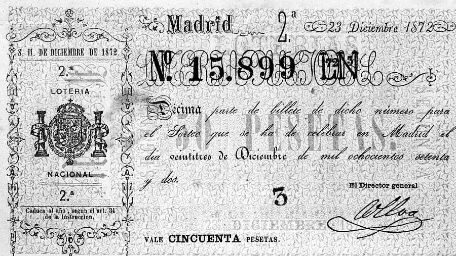 Décimo de Loteria Nacional del año 1872, correspondiente al sorteo de Navidad.