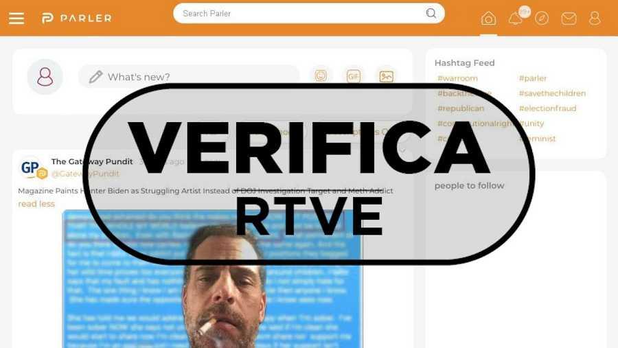 Detalle de la portada de la red social Parler con el sello Verifica RTVE