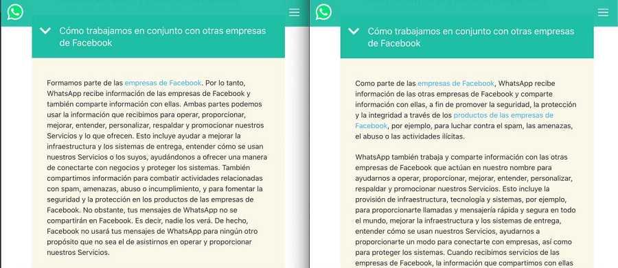 Políticas de privacidad de WhatsApp: a la izquierda la política en vigor (2018), a la derecha la actualización (2021).