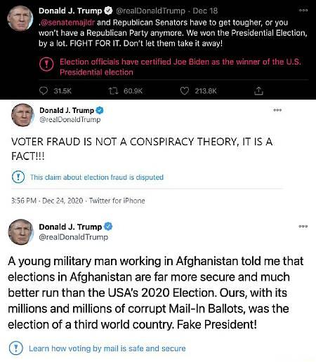 Captura de algunos de los tuits de Donald Trump (cuenta suspendida) retuiteados por la cuenta analizada