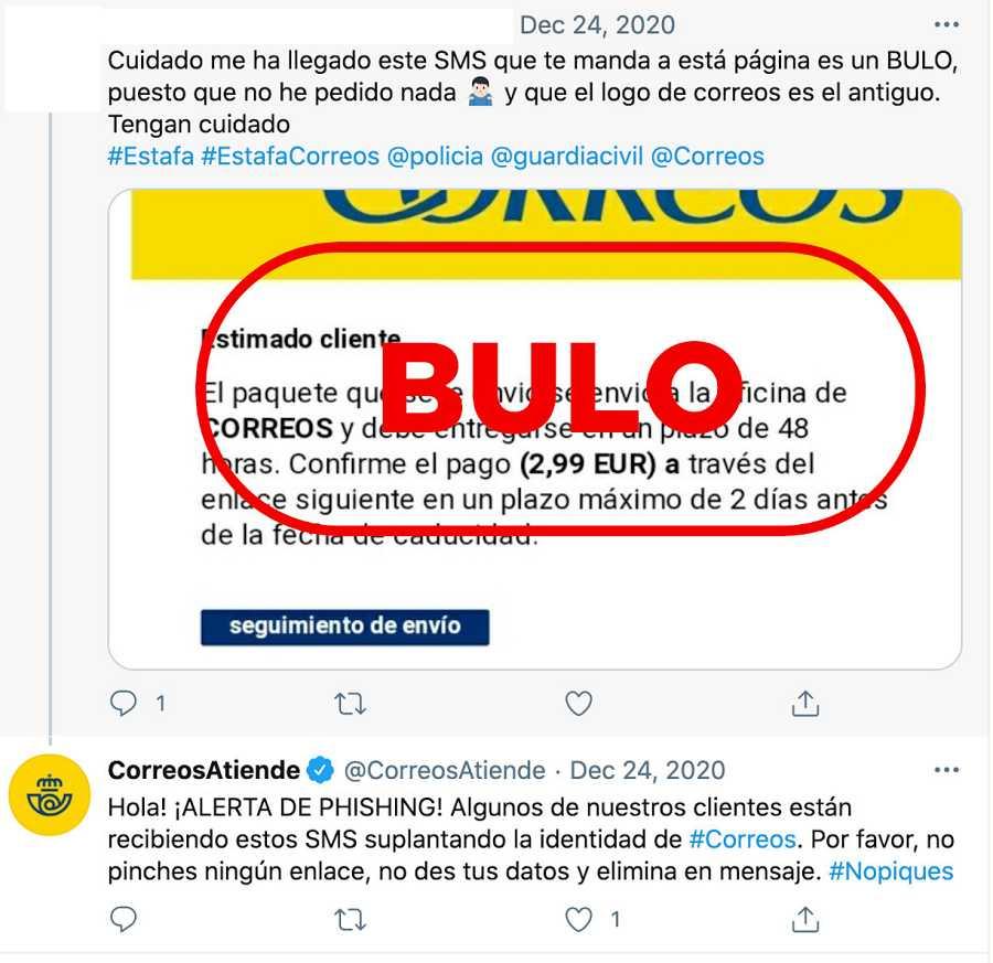 Correos Atiende alerta del bulo que reclama el pago de 2,99 euros y el sello de VerificaRTVE con la palabra bulo.