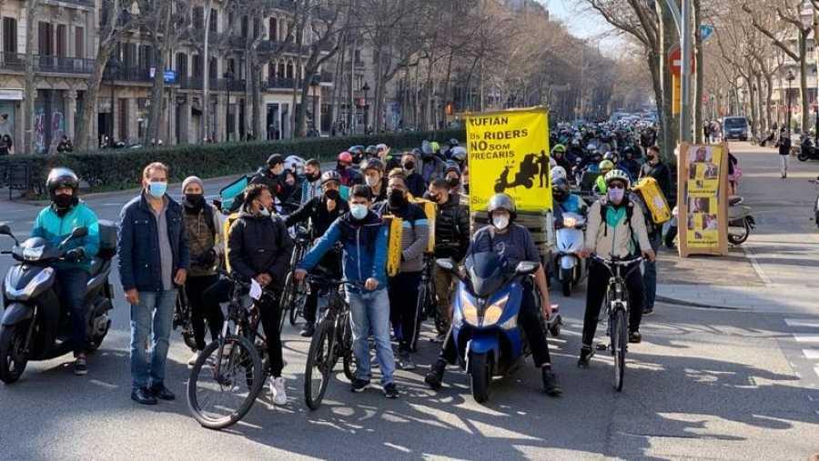Manifestación en Barcelona contra el borrador de la ley de 'riders'