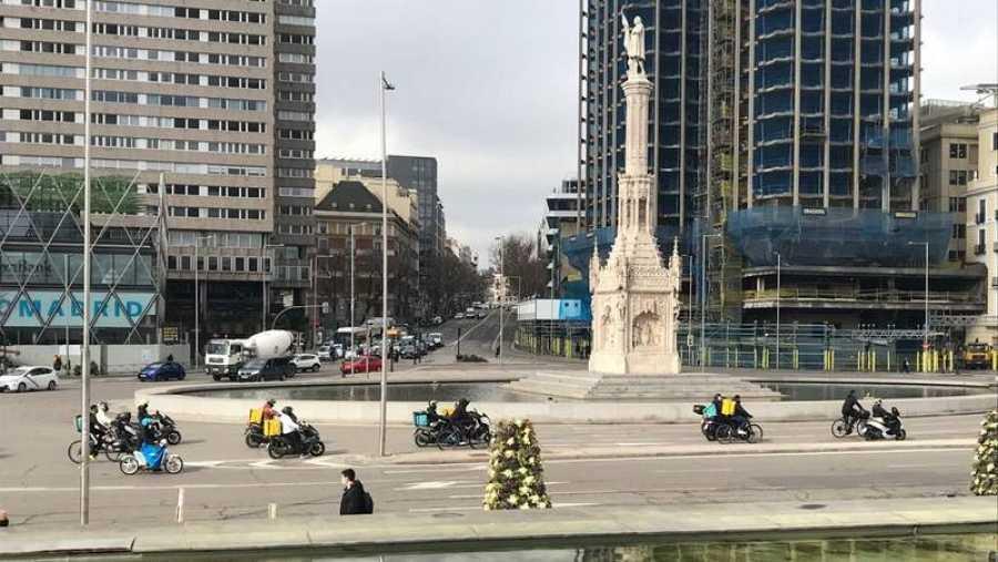 Pitada de los 'riders' en la Plaza de Colón de Madrid