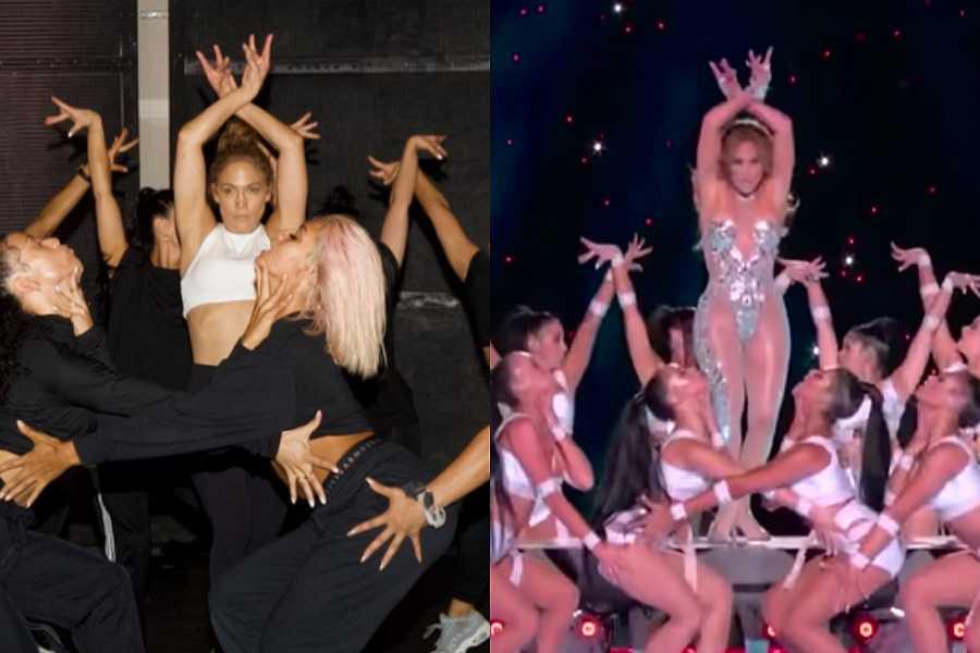 La imagen de Jennifer López entrenando comparada con una de la actuación