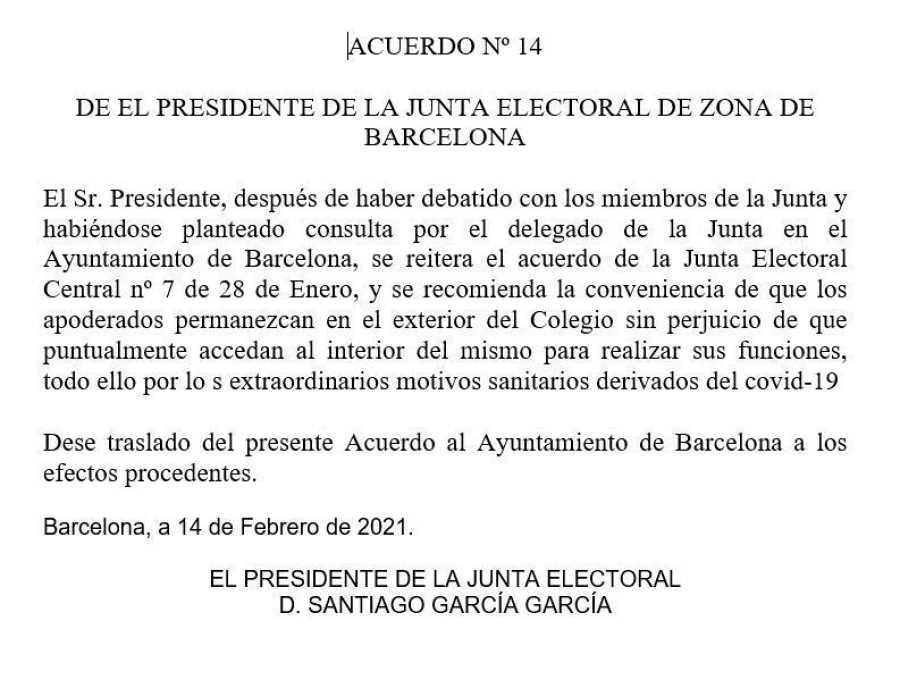 Acuerdo número 14 de la JEZ.