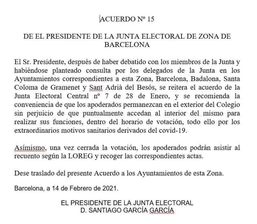 Acuerdo número 15 de la JEZ.