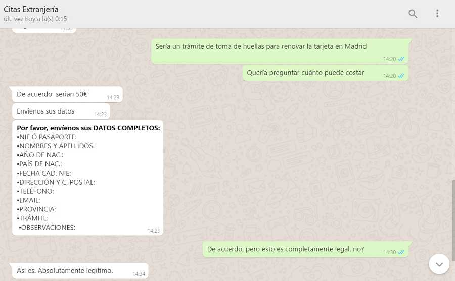 Conversación con una gestoría en línea para solicitar una cita en Extranjería