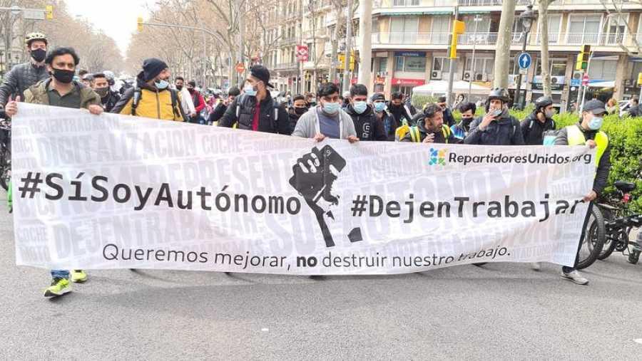 Manifestación de 'riders' en Barcelona