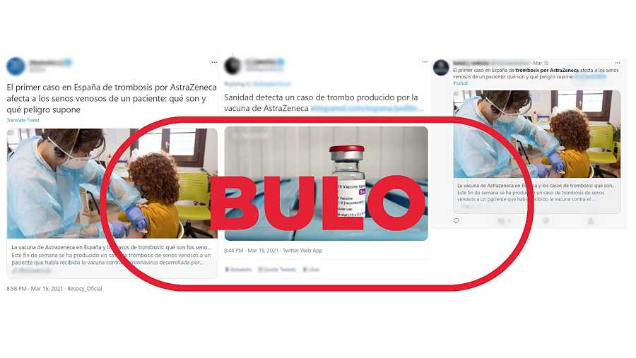 Tres mensajes de Twitter que dicen que la vacuna de AstraZeneca ha provocado trombosis en España con el sello bulo en rojo de VerificaRTVE