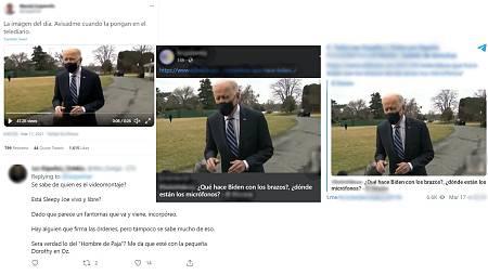 Capturas de pantalla de diversas redes sociales afirmando que el vídeo es un montaje
