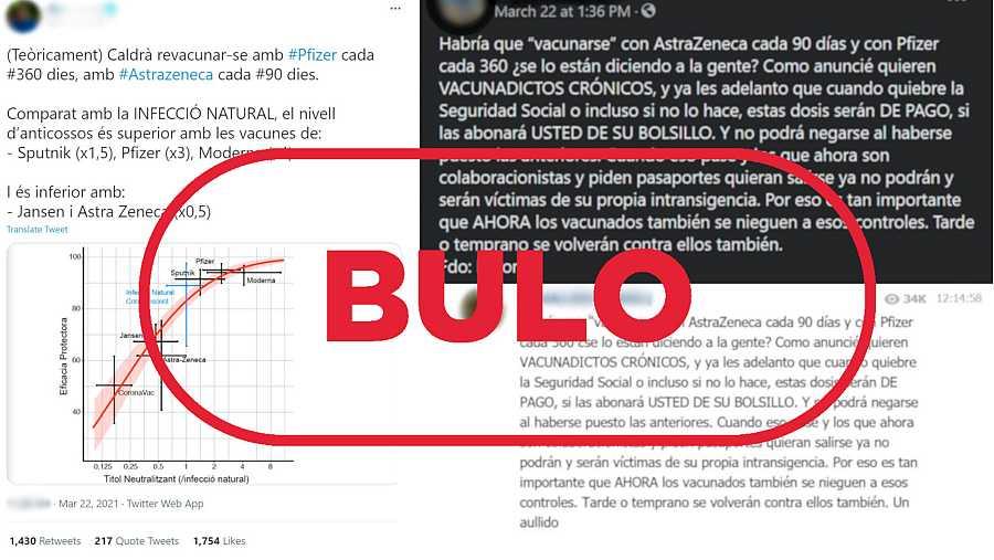 Imagen de los mensajes de redes que dicen que AstraZeneca solo protege durante 90 días con el sello bulo en rojo de VerificaRTVE