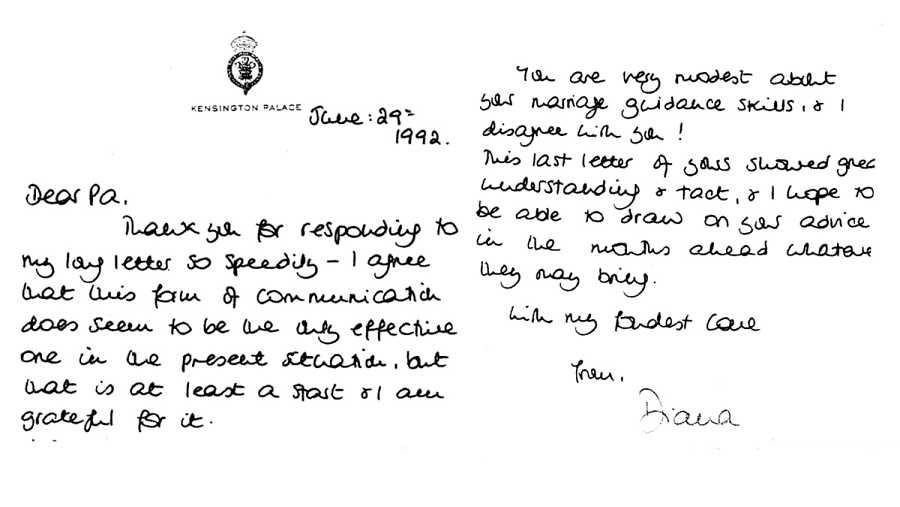 Cartas de Lady Di al príncipe Felipe, duque de Edimburgo, escrita en 1992.