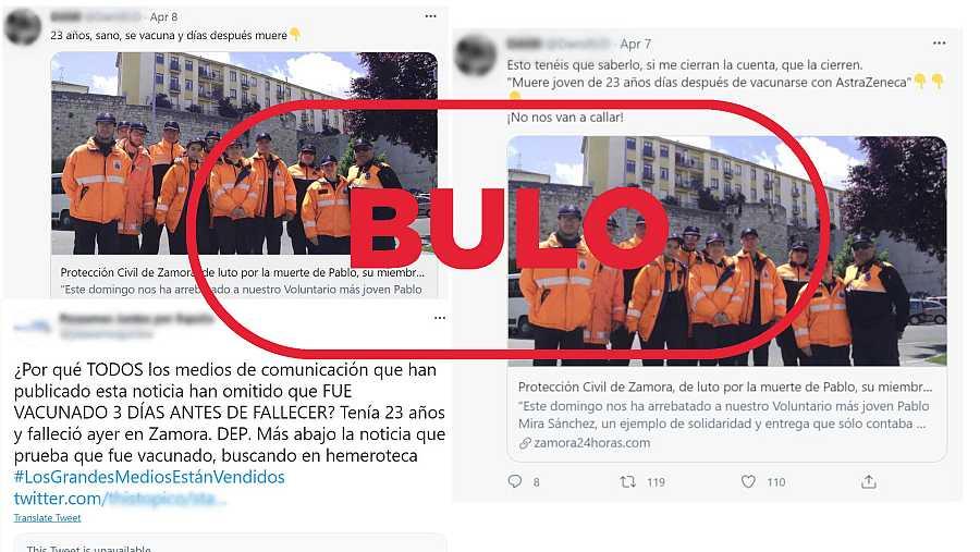 Imágenes de mensajes de Twitter que dicen que un voluntario de Protección Civil de Zamora murió tras recibir la vacuna de AstraZeneca con el sello bulo en rojo de VerificaRTVE