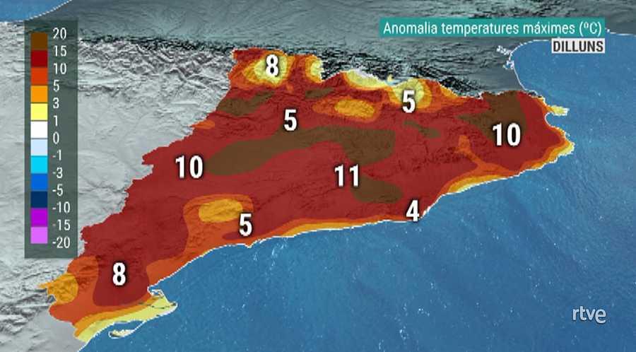 Mapa d'anomalia de temperatures màximes