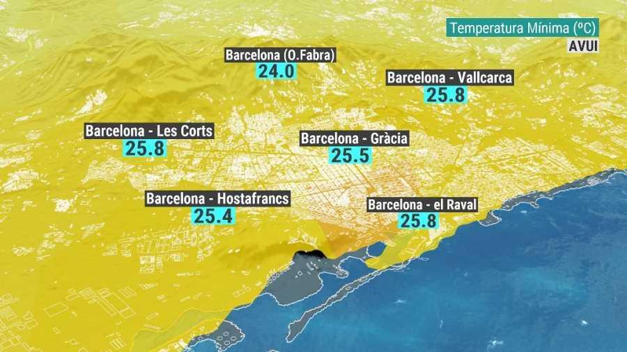 Mapa de temperatures mínimes a Barcelona d'aquest d'aquest dilluns 14 de juny
