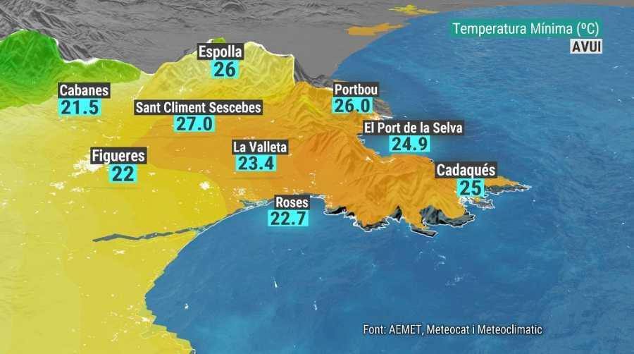 Temperatures mínimes dimarts 15 de juny a l'Alt Empordà