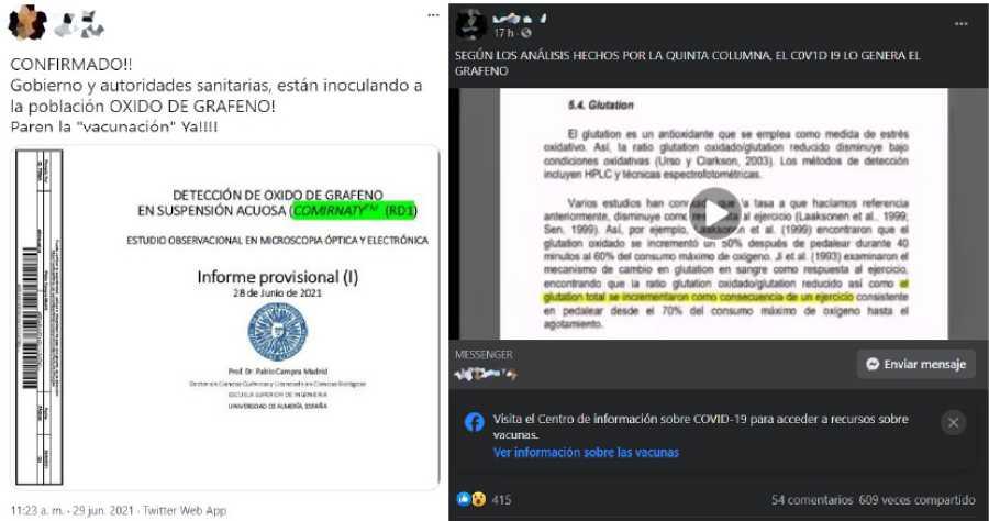 Publicaciones en Twitter (izquierda) y Facebook (derecha) afirmando la existencia del grafeno en las vacunas a partir del informe provisional