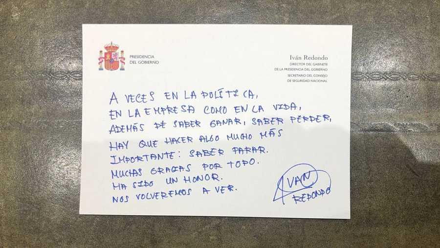 Mensaje de despedida de Iván Redondo