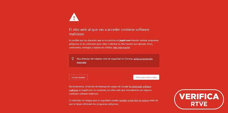 Aviso de peligro con letras blancas y fondo rojo de Google Chrome sobre la web solicitada.