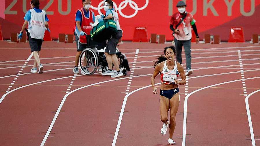 Katarina Johnson-Thompson se rompe en los 200 m lisos de heptatlón