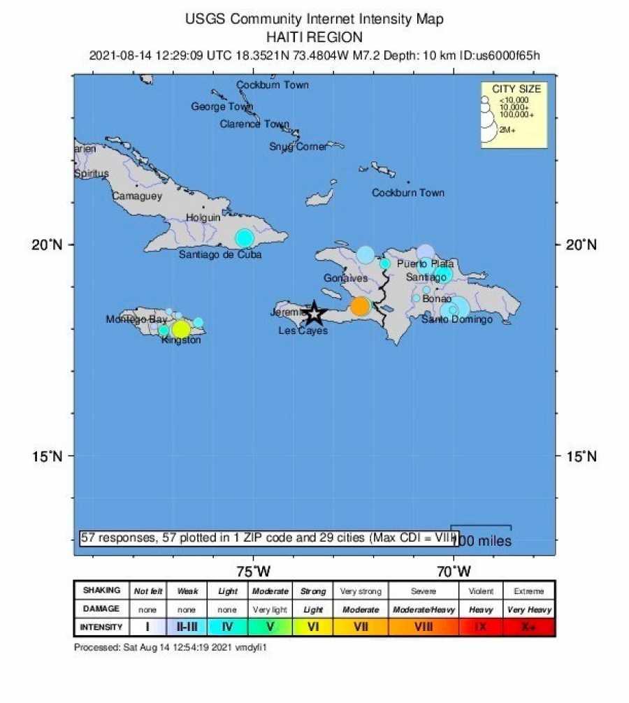 Mapa delServicio Geológico de los Estados Unidos que muestra la ubicación del terremoto en el suroeste de Haití.