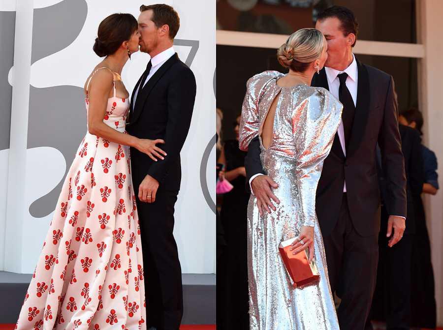 Benedict Cumberbatch y Molly Sims comparten un beso con sus parejas