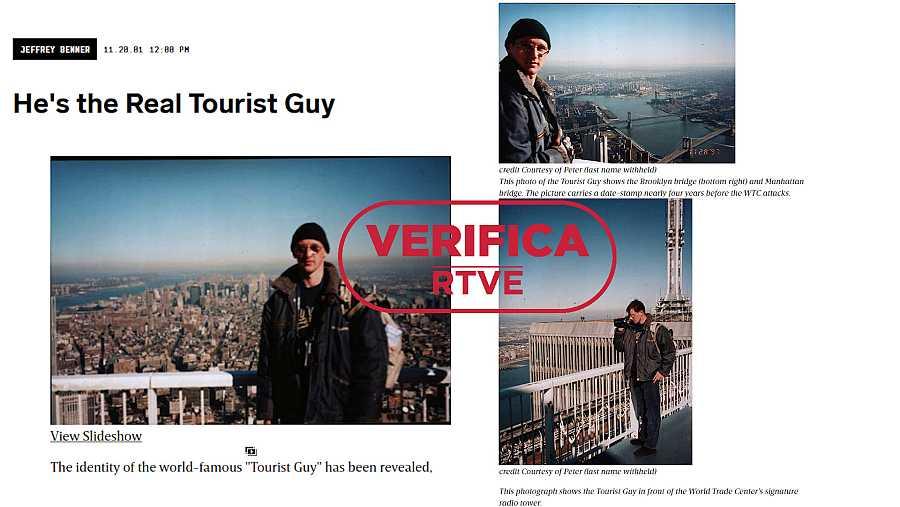 Las tres imágenes del turista húngaro Peter Guzli enviadas a la revistaWired con el sello en rojo de VerificaRTVE