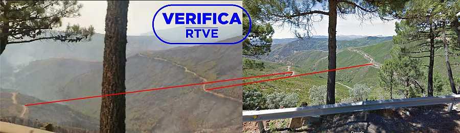 Comparativa de la imagen del vídeo del bombero y la de Google Maps, con el sello azul de VerificaRTVE