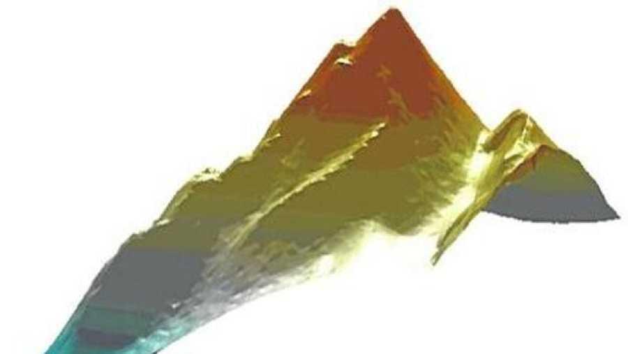 Perfil del volcán Tagoro, en 3D.
