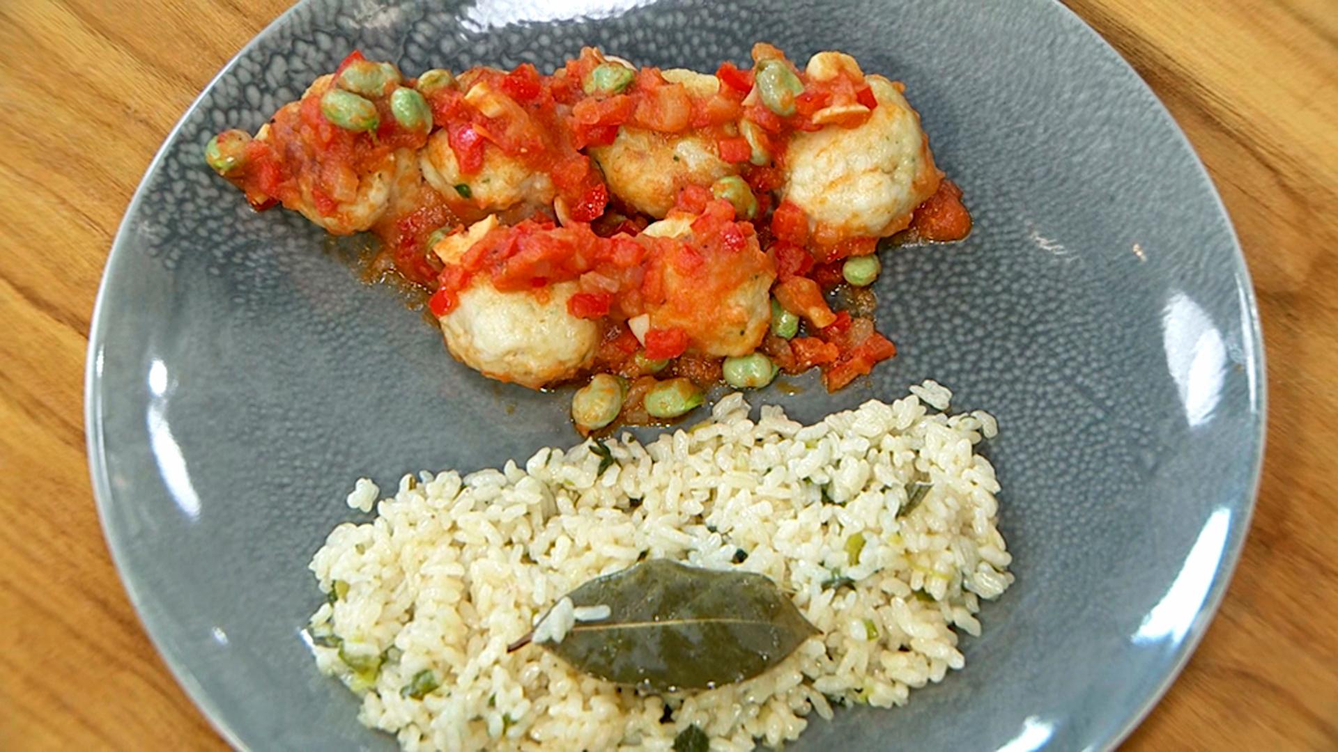 Torres en la cocina - Albóndigas de rape con arroz pilaf