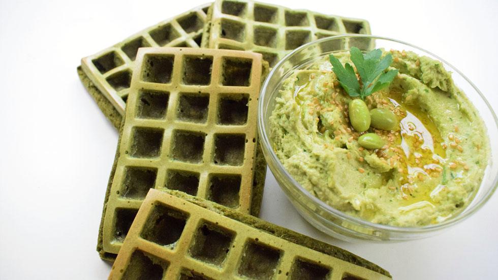 BloggerMC5 - Gofre verde con hummus y edamame
