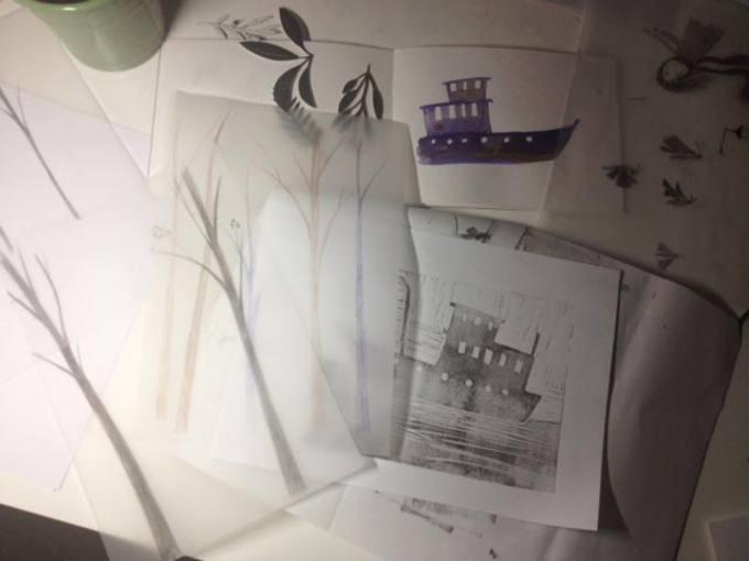 Bocetos de Anuska Allepuz para la portada de 'Lila Sacher y la expedición al norte'